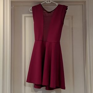TopShop fuschia mesh insert skater dress